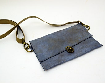 Sky Blue OOAK Leather Purse with Brown leather Strap and Wristlette Strap