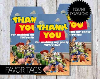 Toy Story Birthday Party PRINTABLE Favor Tags- Instant Download | Disney Toy Story| Andy's Room