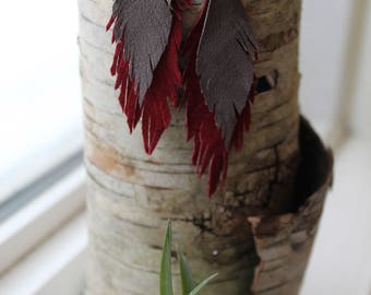 Reclaimed leather feather earrings-Cardinal Red and Mourning Dove Grary