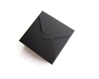 Small black box / square box / holiday gift box / jewelry box / small treat box / wedding favors box / gift box / square box Set of 10