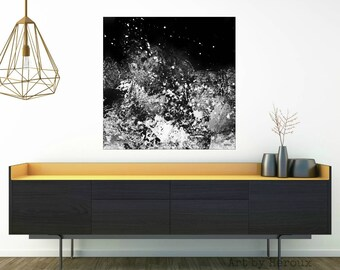Large Painting, large original painting, Monochrome art, monochromatic, contemporary large art, square painting in black and white