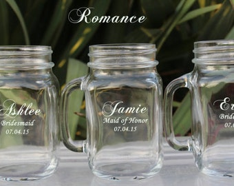 Personalized Bridesmaids Gifts- 24 Mason Jars, Wedding Mason Jar, Bridesmaid Mason Jar, Groomsmen Gift, Mother of the Groom, Wedding Favors