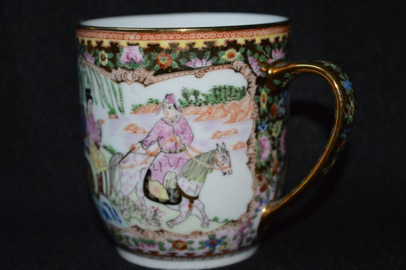 Hand Painted Tea Cup With Birds Horse Lady in Chair Red