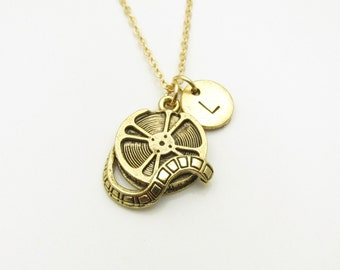 Film Reel Necklace, Movie Reel Charm, Initial Necklace, Antique Gold, Personalized Stamped Initial, Theater and Movies Theme Monogram Z057