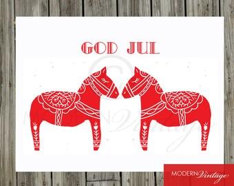 God Jul, Merry Christmas, Season's Greetings Linocut Print Christmas Cards - Set of 6