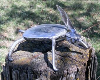 Turtle Metal Sculpture Hat Feather Yard Art Garden Art Found Objects