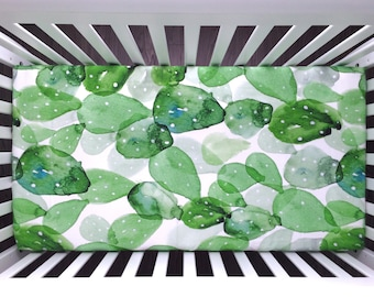 Cactus crib sheet. Fitted sheet Cactus watercolor green prickly pear. Organic crib sheet. Gender neutral (#0142)