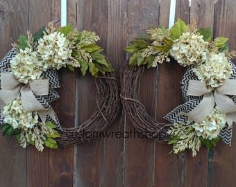 Merveilleux Double Door Wreath,Front Door Wreaths,Summer Wreath,Hydrangea Wreath,Wreaths  For Double Doors,Grapevine Wreath,Housewarming Gift,Wreaths