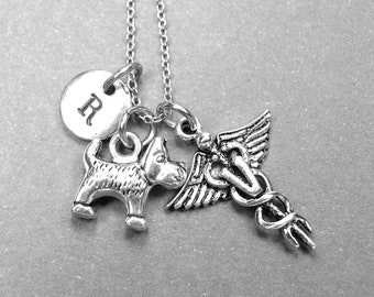 Dog necklace, Terrier dog necklace, Veterinary necklace, Veterinarian necklace, dog lover gift, initial necklace, personalized necklace