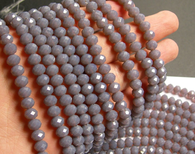 Crystal faceted rondelle - 68 pcs - 8 mm - A quality - full strand - grey - GSH55