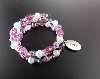 """CLEARANCE Handcrafted Purple Beaded """"Love"""" Memory Wire Bracelet"""