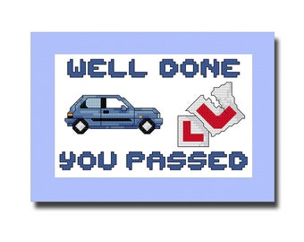 Driving Test Pass Cross Stitch Card Kit