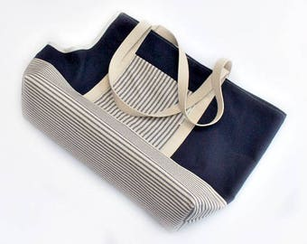 "Dog Carrier Bag, Navy Blue Striped Custom Dog Carrier Tote, X Small Dog Carrier Purse to X Large Fits Dogs up to 23"" Long, Pet Carrier"