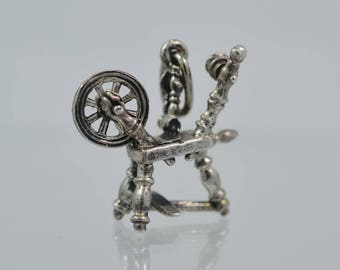 Vintage Sterling Beau Spinning Wheel Charm - Movable Wheel Great Detail