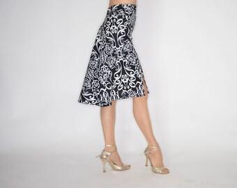 TROILO Swinging Flow Tango Skirt - Damask Print