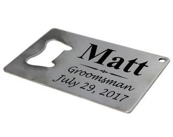 Credit Card Bottle Opener, Groomsmen Man Card, Beer Opener Personalized, Wallet Opener, Credit Card Opener