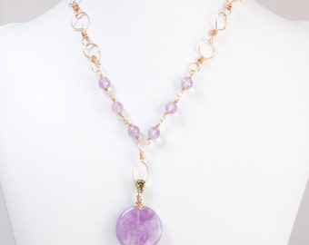 Purple necklace Amethyst necklace bronze medium necklace handcrafted chain