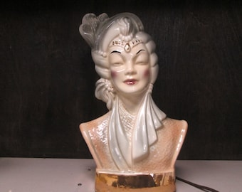 Hollywood Regency Vintage Mata Hari Bust TV Lamp Great Color and Detail with Cool Back Lighting