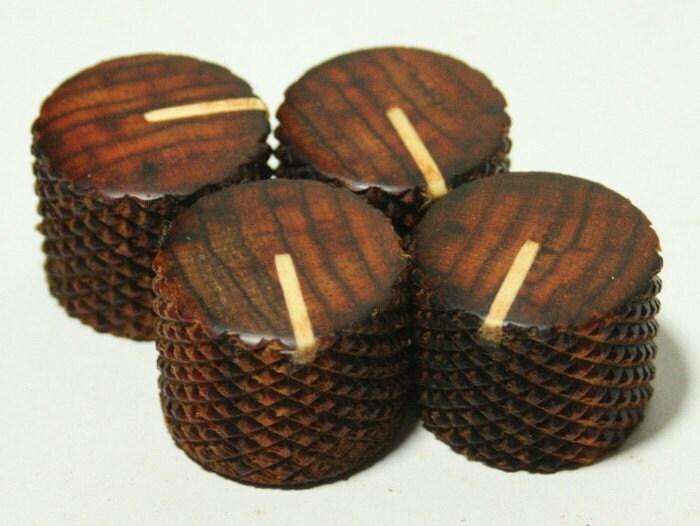set of 4 cocobolo guitar knobs with maple line indicator 7 8d. Black Bedroom Furniture Sets. Home Design Ideas