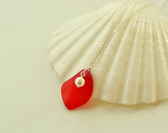 Red sea glass necklace Christmas gift ideas jewelry red pendant with pearl and sea glass anniversary gift for wife mom bridesmaids jewelry