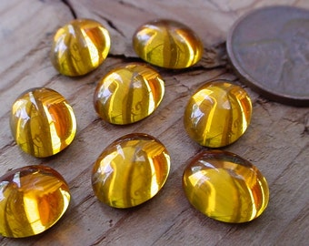 8pc Swarovski Crystal 10/8 mm Cab Gold Golden Topaz Oval Loose Flat Back Stone 8/10 mm Vintage Cabochon Silver Foiled Jewelry Findings S1B3