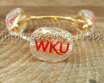 Western Kentucky University Wire Wrapped Bangle, Bracelet, Bourbon and Bowties Inspired