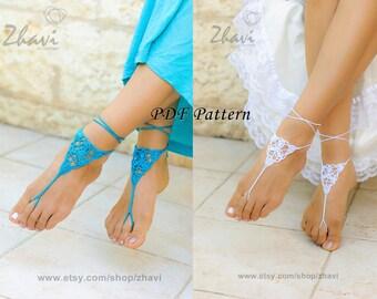CROCHET barefoot sandals PATTERN #6, Beach wedding, PDF Patterns, Crochet Pdf pattern, Bridal sandals