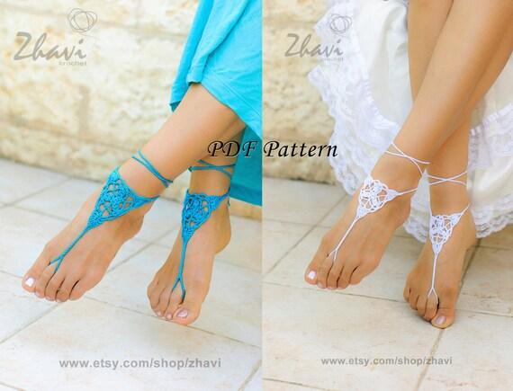 Crochet Barefoot Sandals Pattern 6 Beach Wedding Pdf Patterns