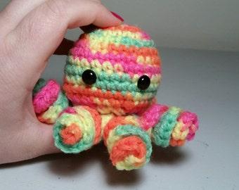 Mini Crochet Octopus Amigurumi, NEON RAINBOW, Octopus Plush, Octopus Plushie, Stuffed Animal, Cute Octopus, Octopus Toy, Stocking Stuffer