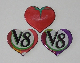 3 Heart Magnets - V8 Vegetable Fruit Can