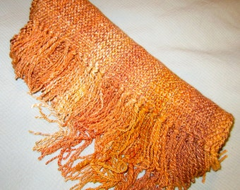 Marmalade - hand woven scarf from hand spun merino and bamboo.