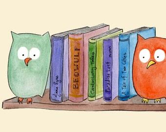 Bibliothèque de serre-livres - Owl bibliothèque livre Art Print -, littérature, art, aquarelle