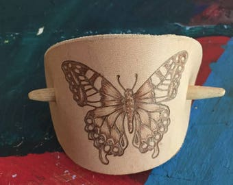 Leather & Wood Hair Band with Burned Butterfly Design