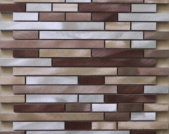 Brushed Interior Aluminum Wall Tile Backsplash Silver Brown and Gold Metallic Interlocking Random Metal Mosaic Tiles