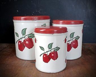 Vintage 1940s-1950s Red Apple Metal Canister Set (3)