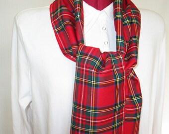 Royal Stewart Tartan Scarf, Red Plaid Scarf, Lady Scarf, Man Scarf, Stewart Scarf Gift, Classic Scarf