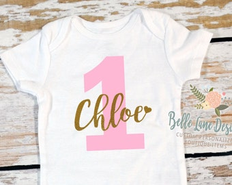 Name with Heart and Layered One Onesie | First Birthday | 12 Months | Glitter Gold | HTV | Happy Birthday | Girl | Cake Smash Outfit | 006