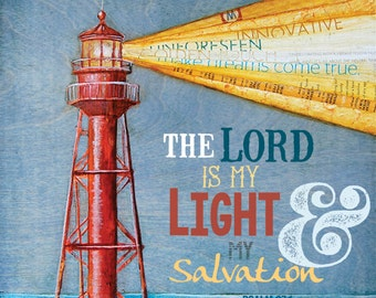 Lord Is My Light- lighthouse- All Sizes- Fine Art Word Print