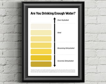 Urine Color Chart, Pee Color Chart, Water Intake Chart, Pee Meaning, Dark Urine, Urine Color,Bright Yellow Urine,Pee Chart,Instant Download