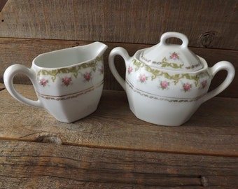 Vintage Creamer and Sugar Bowl, Rose Pattern, Bavaria Germany, China Creamer, China Sugar Bowl
