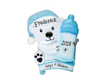 Baby Bear with Blue Bottle Personalized Christmas Ornament / Baby's 1st / Baby's First / Baby Boy / Hand Personalized