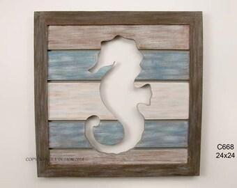 Cut Out Slat Panel Seahorse - C668