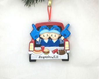 Tailgating Couple Personalized Christmas Ornament / Football Ornament / Tailgate / Football Fan / High School Football