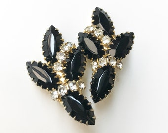 Black and Clear Rhinestone Clip On Earrings - Navette Marquis Stones - Gold Tone Costume Jewelry from the 1950s
