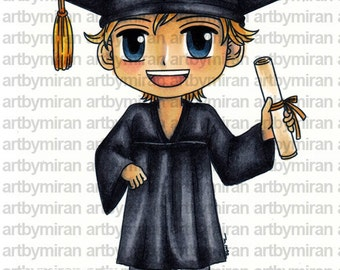 Digital Stamp - Graduating Gordon (ABM 008), Digi Stamp, Coloring page, Printable Line art for Card and Craft Supply