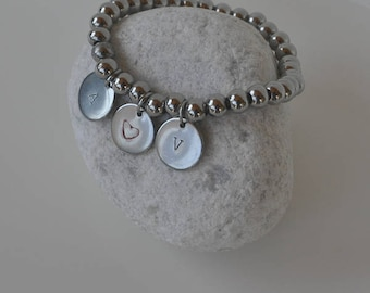 Steel bracelet with initials and engraved heart
