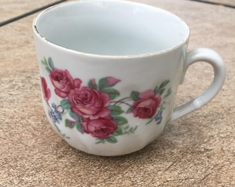 Antique German china teacup petite size rose and periwinkle cottage shabby chic decor ECS