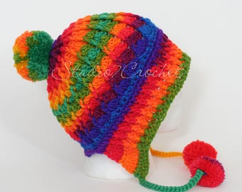 Cozy Winter Wonderland hat, multicolor / rainbow, teen/adult size, ready to ship