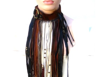 Fringe Couture, Warrior fringe, Leather fringe collar, Wild one Sheikh collection :Renegade icon designs