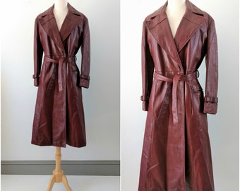 Vintage 1970s Etienne Aigner oxblood leather coat, vintage leather trench size small / medium